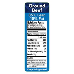 85 / 15 GROUND BEEF NUTRITION PANEL